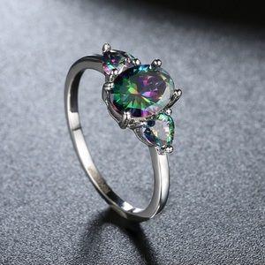 Jewelry - 🌈2.13 CT Rainbow Topaz 18k White Gold Ring🌈